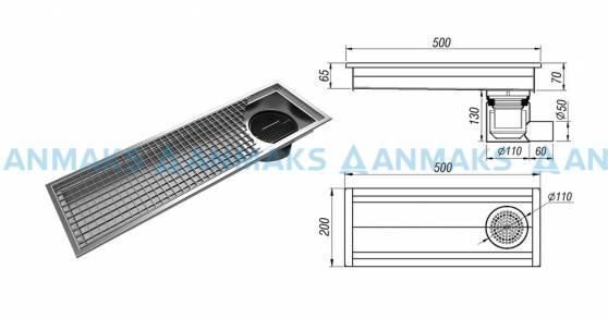 Схема: Трап для кухни мини 200х500 мм с горизонтальным выпуском Ф50 мм в комплекте с гидрозатвором, уловителем механических примесей и покрытием
