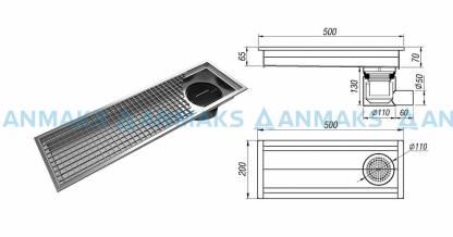 Трап для кухни мини 200х500 мм с горизонтальным выпуском Ф50 мм в комплекте с гидрозатвором, уловителем механических примесей и покрытием