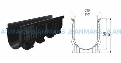 Лоток водоотводный PolyMax Basic ЛВ-20.26.30-ПП пластиковый
