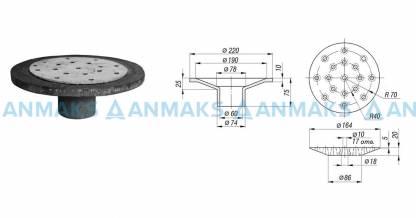 Дренажное устройство ДУ-50 (Воронка ВР.50.220.75 с решеткой РВ.160.20)