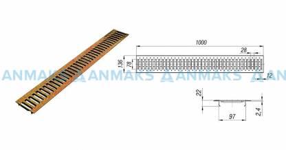 Решетка водоприемная РВ -10.13,6.100 - штампованная стальная медная кл. А (нагрузка до 1,5 тонн)