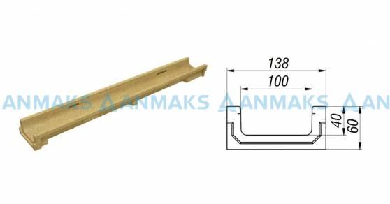 Лоток водоотводный CompoMax Basic ЛВ-10.14.06-П полимербетонный 7010