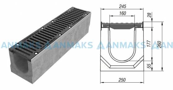 Лоток водоотводный BetoMax ЛВ-16.25.26-Б бетонный с решёткой щелевой чугунной ВЧ кл. Е (комплект) 04350