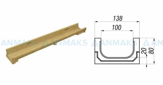 Схема - лоток водоотводный CompoMax Basic ЛВ-10.14.08-П полимербетонный