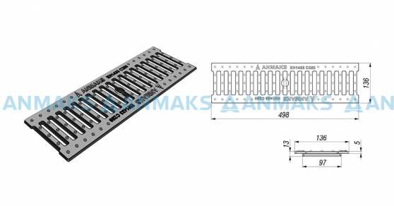 Схема: Решетка водоприемная – 10.13,6.50 – щелевая чугунная ВЧ50, кл. С250