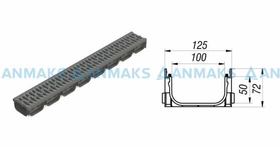 Схема: Лоток водоотоводный S'park ЛВ-10.14.07-ПП пластиковый серый с решеткой пластиковой кл.А (комплект) 08818-С