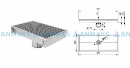 Трап для кухни 400х800 с вертикальным выпуском Ф110 мм в комплекте с гидрозатвором, уловителем механических примесей и покрытием