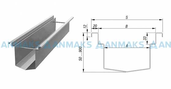 Лоток водоотводный  А 100-400 мм из нержавеющей стали