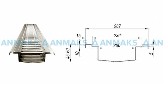 Лоток водоотводный  АМ 200 мм из нержавеющей стали