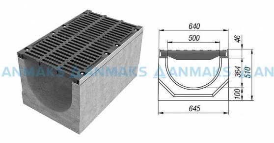 Лоток водоотводный BetoMax ЛВ-50.64.51-Б бетонный с решёткой щелевой чугунной ВЧ кл. Е (комплект) 04940