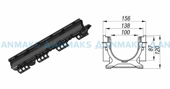 Схема: Лоток водоотводный PolyMax Basic ЛВ-10.16.12-ПП пластиковый 8020