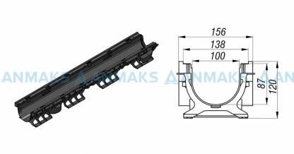 Лоток водоотводный PolyMax Basic ЛВ-10.16.12-ПП пластиковый