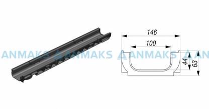 Лоток водоотводный Gidrolica Standart ЛВ-10.14,5.06 - пластиковый