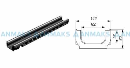 Лоток водоотводный Gidrolica Standart Plus ЛВ-10.14,5.08 - пластиковый (усиленный)
