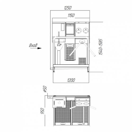 Схема: Система гигиенического доступа СП-02/Э/ЭД