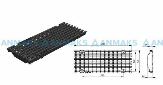 Решетка чугунная ячеистая DN150, 500-197-25, 27-13, кл. E600 kN