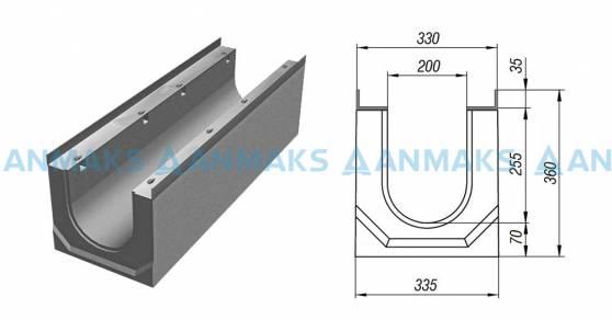 Схема: Лоток водосточный ЛВК ВМ Sir 200  №10-0