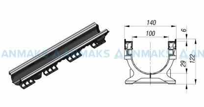 Лоток водоотводный PolyMax Basic ЛВ-10.16.12-ПП пластиковый усиленный