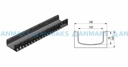 Лоток водоотводный Gidrolica Standart ЛВ-15.19,6.10 пластиковый