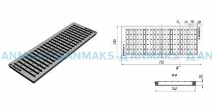 Решетка водоприемная – 75.25 – щелевая чугунная ВЧ50, кл. D