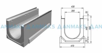 Лоток водосточный ЛВК ВМ Sir 300 №20/0 (тип 2) без внутреннего уклона