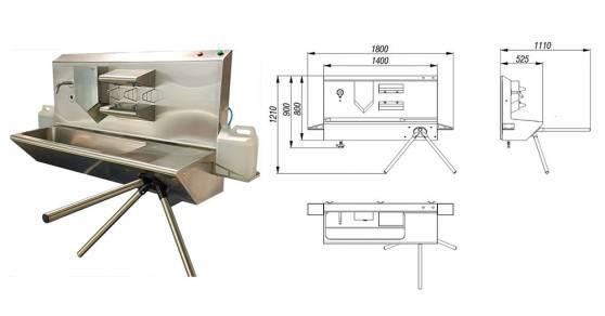 Система гигиенического доступа СП-02Д-18, настенный санпропускник