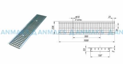 Решетка водоприемная РВ -20.23,6.100 - ячеистая стальная оцинкованная кл. В (нагрузка до 12,5 тонн)