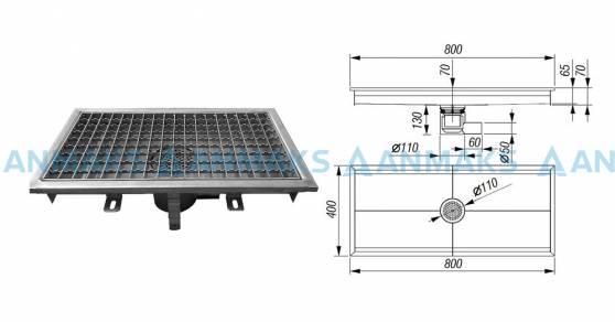 Трап для кухни 400х800 мм с горизонтальным выпуском Ф50 мм в комплекте с гидрозатвором, уловителем механических примесей и покрытием