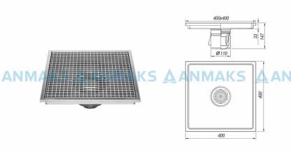 Трап для кухни 400х400 мм с вертикальным выпуском Ф110 мм в комплекте с гидрозатвором, уловителем механических примесей и покрытием