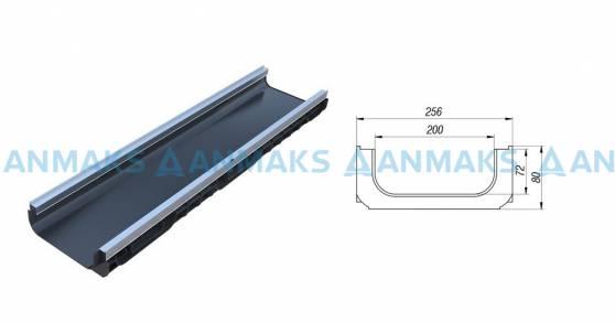 Лоток водоотводный PolyMax Basic ЛВ-20.26.08-ПП пластиковый усиленный 8517