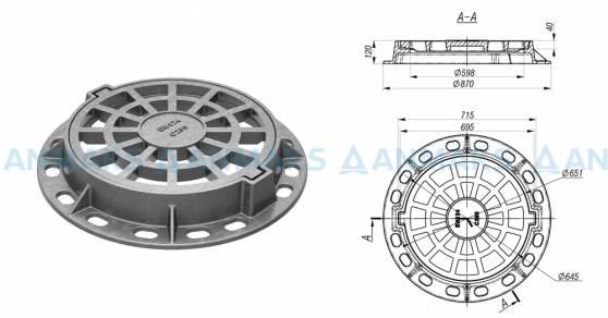 Чугунный круглый дождеприемник ДК (С250) ГОСТ 3634-9 2C EN124 схема