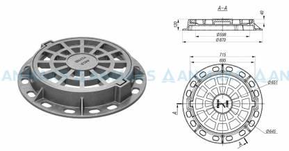 Чугунный круглый дождеприемник ДК (С250) ГОСТ 3634-99 EN124