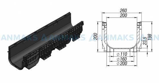 Лоток водоотводный PolyMax Basic ЛВ-20.26.20-ПП пластиковый