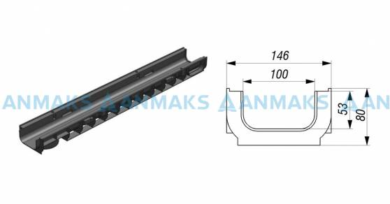 Лоток водоотводный Gidrolica Standart ЛВ-10.14,5.08 - пластиковый