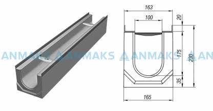 Лоток водосточный ЛВК ВМ Light 100 №15/0 без внутреннего уклона