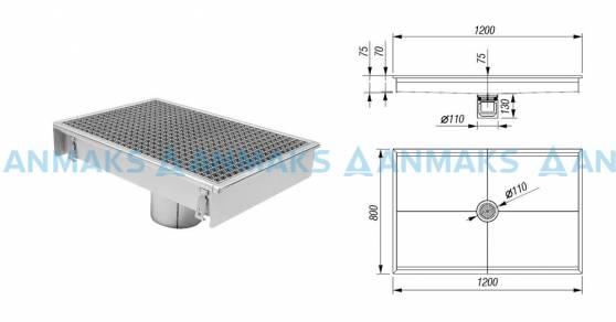 Трап для кухни 800х1200 мм с вертикальным выпуском Ф110 мм в комплекте с гидрозатвором, уловителем механических примесей и покрытием