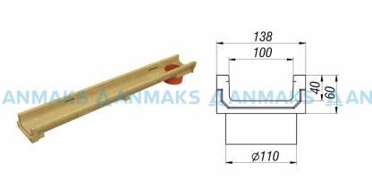 Лоток водоотводный CompoMax Basic ЛВ-10.14.06-ПВ полимербетонный с вертикальным водоотводом