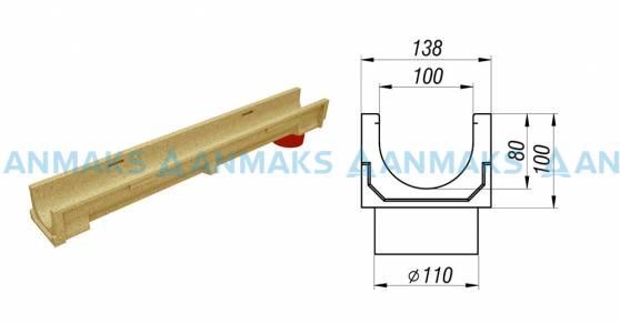 Лоток водоотводный CompoMax Basic ЛВ-10.14.10-ПВ полимербетонный с вертикальным водоотводом 703009